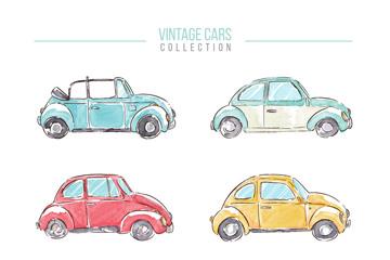 6款彩色老式轿车矢量素材