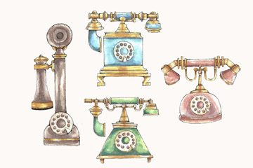 4款彩绘老式电话矢量素材