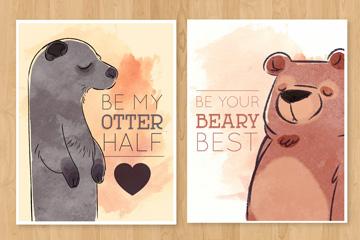 2款水彩绘动物卡片矢量素材