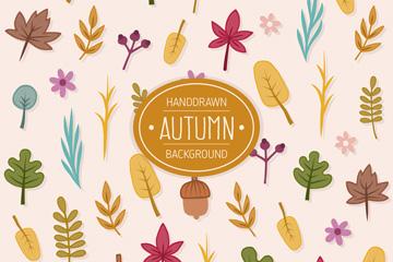多种彩色秋季落叶无缝背景矢量素材