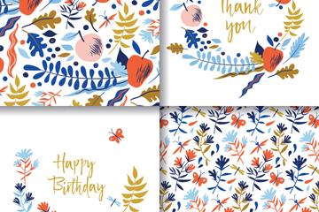 4款彩绘花卉祝福卡片矢量素材