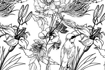 黑白手绘花鸟设计矢量素材