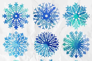 9款水彩绘蓝色雪花矢量图