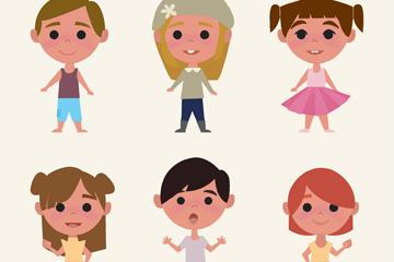 6款可爱儿童设计矢量素材
