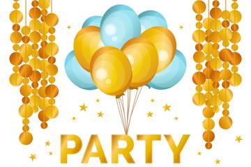 6款金色派对气球和装饰物矢量素
