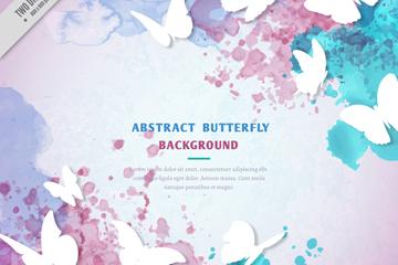 白色质感蝴蝶和水彩墨迹矢量图