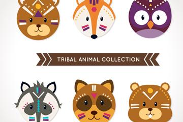 6款部落花纹动物头像矢量素材