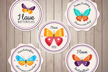 5款圆形彩色蝴蝶标签矢量素材