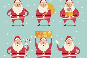 6款雪中的圣诞老人矢量素材