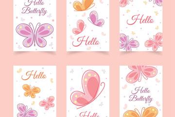 6款彩绘蝴蝶卡片矢量素材
