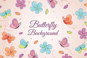 彩绘蝴蝶和花朵无缝背景矢量图