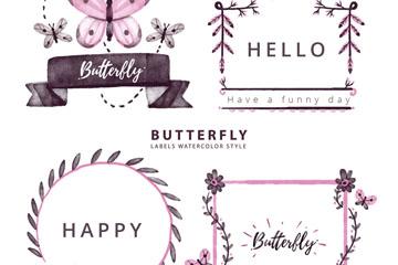 4款水彩绘蝴蝶标签矢量素材