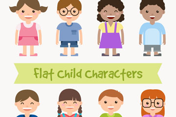 8款扁平化儿童设计矢量图