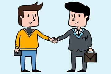 2个握手的商务男子设计矢量素材