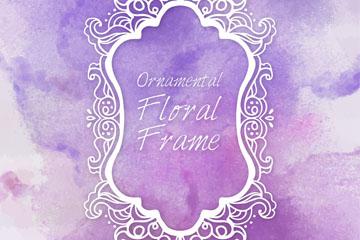 白色花纹框架紫色背景矢量素材