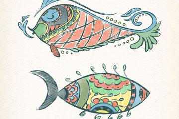 2款彩绘花纹鱼类设计矢量图