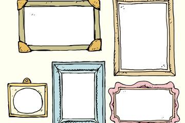 5款彩绘相框设计矢量素材