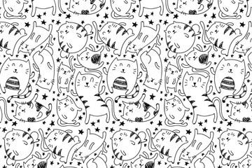 手绘笑脸猫咪无缝背景矢量图
