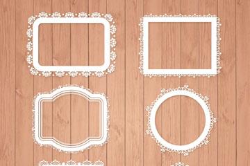 6款白色蕾丝花纹框架矢量素材