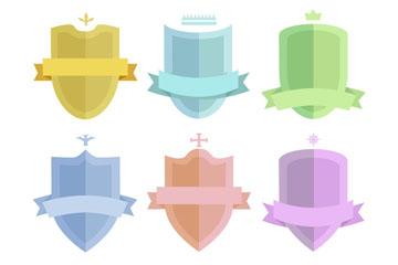 6款彩色丝带盾牌矢量素材