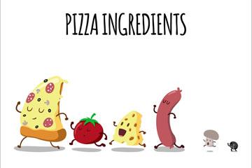 6个奔跑的披萨原料矢量素材