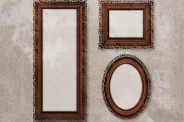 3款复古木质相框矢量素材