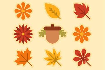 9款秋季植物集合矢量优发娱乐