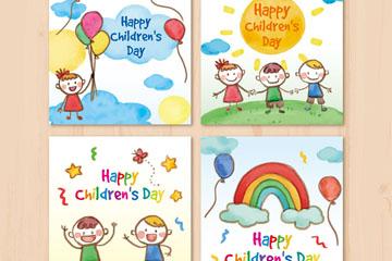4款彩绘儿童节卡片矢量素材