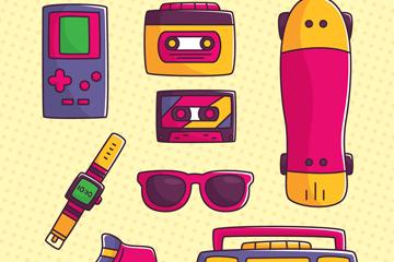 8款彩色娱乐用品矢量素材