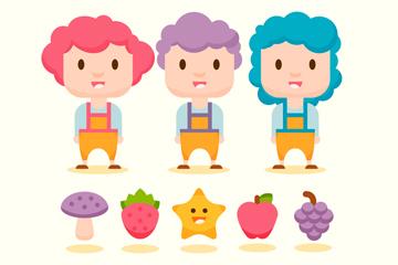 3款卡通农场游戏人物和4款水果矢量图