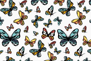 彩绘蝴蝶无缝背景矢量素材