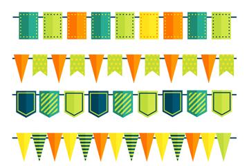 6款彩色扁平化节日拉旗矢量图