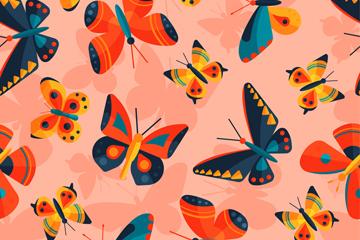 扁平化蝴蝶无缝背景矢量素材