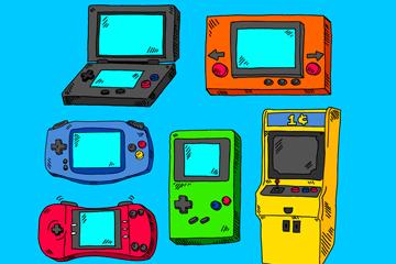 6款彩绘游戏机设计矢量素材