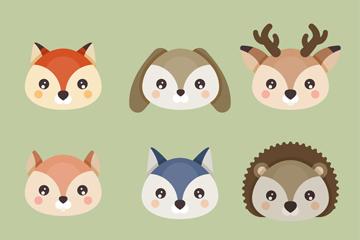9款可爱动物头像矢量素材