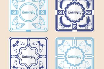 4款正方形蝴蝶卡片矢量素材