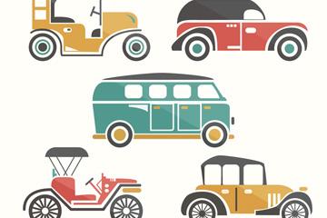 5款复古车辆设计矢量素材