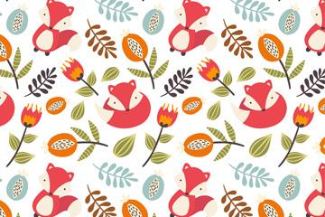 彩色狐狸和花卉无缝背景矢量图