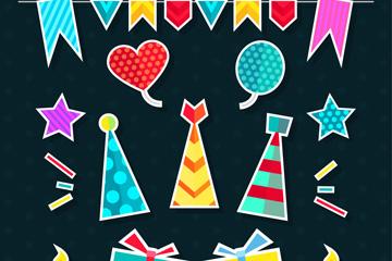 12款彩色派对装饰物贴纸矢量图
