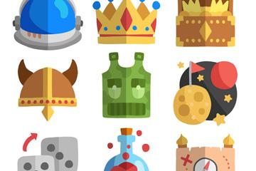 9款扁平化电子游戏元素图标设计