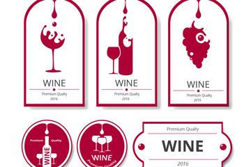 6款创意葡萄酒标签矢量素材