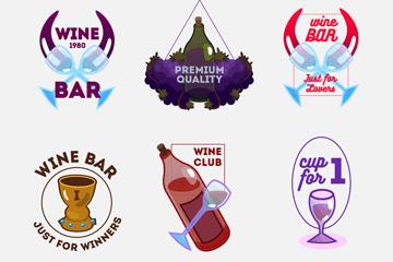 6款彩绘葡萄酒标签矢量素材
