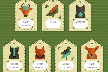 7款创意动物吊牌标签矢量素材