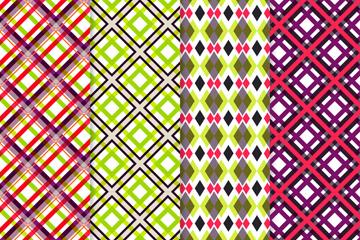 4款彩色菱形格纹无缝背景矢量图