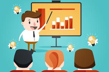卡通做ppt分享的商务会议人物矢量素材