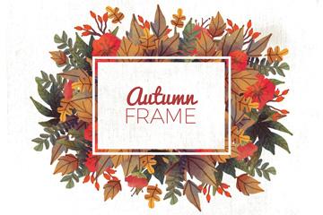 秋季落叶框架设计矢量素材