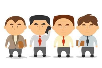 4款卡通大头商务男子矢量素材
