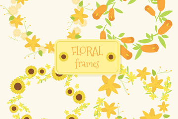 4款黄色花环设计矢量素材