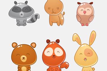 6款可爱微笑动物设计矢量素材