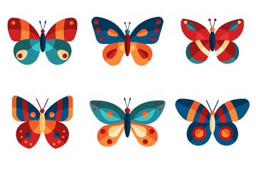 9款拼色蝴蝶设计矢量素材